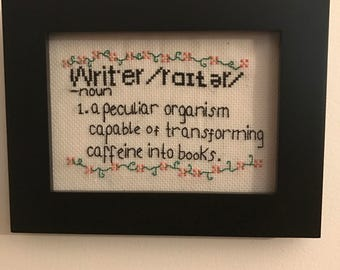 Writer cross stitch