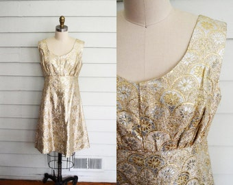 vintage 1960s shimmery gold and silver party dress / mod scooter dress / gold lame mini dress / medium vintage dress / large vintage dress