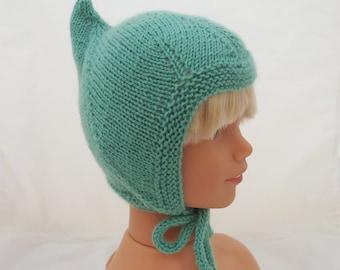 Baby Pixie Hat, Elf Baby Bonnet, Handknitted Baby Hat, Kids Pixie Helmet in Mint, Mint Baby Hat