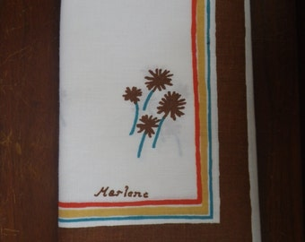 Vintage Pillowcase Marlene Brown Flower Pattern Stripes Teal Orange Free Shipping on White Background Linens Bedding Pillow Sham Case Bed