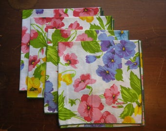 Vintage Cloth Napkins Floral Cotton Set of Four Pink Green Yellow Blue Purple Excellent Pre-Owned Condition Spring Pretty Blooms Flowers