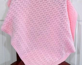 Crochet Baby Girl Blanket, Pink Afghan Blanket, Nursery Crib Afghan
