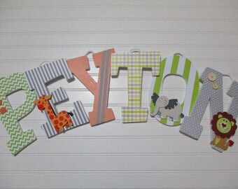 "PEYTON - 12.00 PER LETTER boy's name, 9"" wooden letters, safari theme, jungle theme, elephant, giraffe, zebra, lime green, orange, gray"