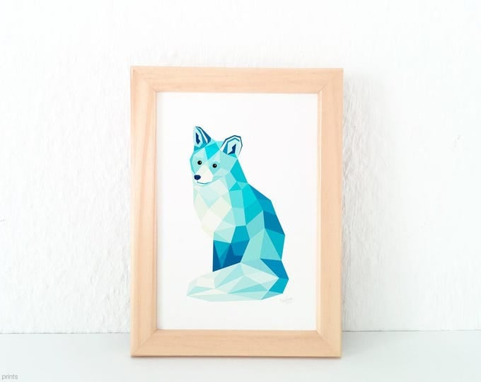 Arctic fox wall art, Ice fox print, Geometric fox, Fox illustration, Children's animal art, Fox decor, Polar bear art, Animal lovers art
