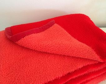 Retro blanket vintage blanket acrylic blanket red blanket 1960 1970s blanket