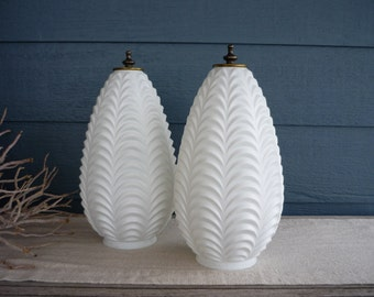 Pair of Vintage White Glass Swag Lamp Shades, Textured Glass Shade, 60's Lamp Shade