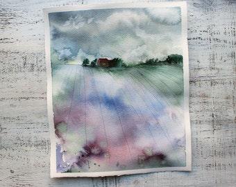 Provence landscape original watercolor painting 9x11 lavender fields