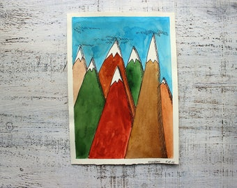 Mountains original watercolor painting 7x10 green blue orange brown cartoon