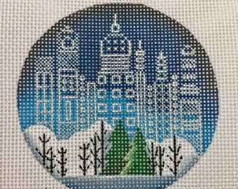 "Hand Painted Needlepoint Canvas City Lights 13 count canvas 4"" Ornament"