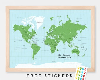 World Map Ombre Art Print Coral World Map Child Wall Decor - Earth map countries and capitals