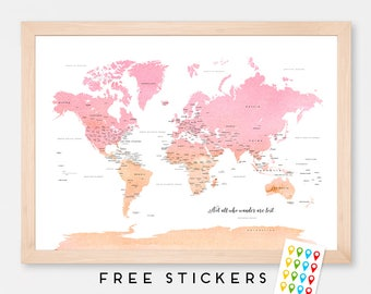 Personalized World Map Art Print Poster Countries Names Pink - Orange Watercolor - Travel Map World Map - Medium - XLARGE