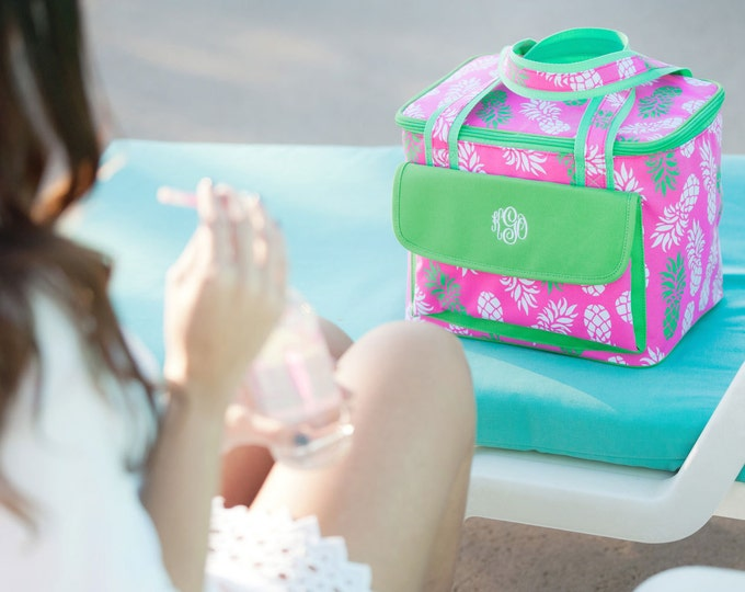 Monogrammed Lunch Bag, Cooler Tote, Cooler Bag, Monogram Cooler Bag, Flora Bora, High Tied, Coral Cove, Luna Lagoon, Pineapple of my eye