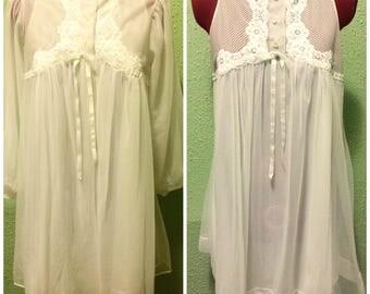 1950s White Peignoir Set bridal wedding sz sm