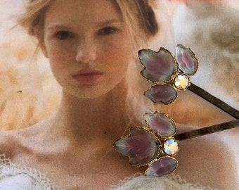 Decorative Hair Pins 1940's Bridal Jewelry Lavender Purple Blue Molded Glass Leaf Rhinestone Bobby Hairpins