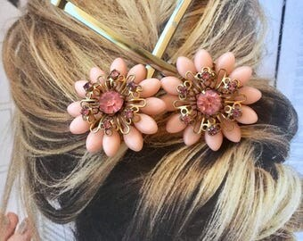 Pink Floral Flower Bridal Hairpins Vintage 1940 1950 Decorative Rhinestone Filigree Hair Pins Bobby Pins