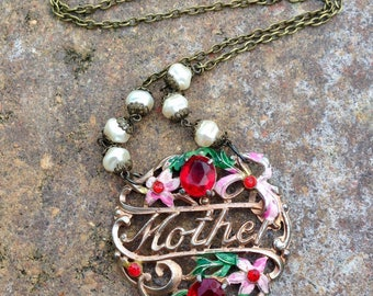 1940 Mother Pendant Necklace, Deco Vintage Assemblage Jewelry Enamel Flower Rhinestone Pearl