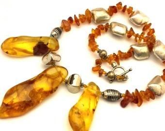 Amber Baltic Necklace Vintage 50.78 Gr Unusual Honey Cognac Color