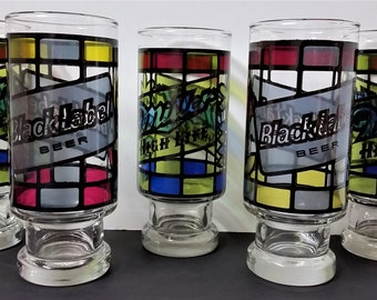 Mid Century Retro Anchor Hocking Stained Glass Style Beer Glasses 3 Miller High Life Stained Glass Design 2 Black Label Beer Stained Glass