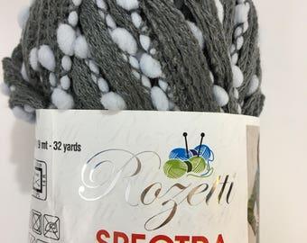 Yarn Rozetti Spectra Duet Gray White Pom Pom Lattice Ruffle Specialty Novelty Zen Grey Scarf Discontinued Ladder