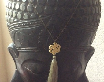 Long Endless Knot and Tassle Necklace