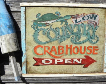 Low Country Down East  Crab Shack  Sign, hand painted, original, Z FS LC2
