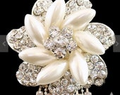 Brooch Pin - Rhinestone Brooch - Pearl Brooch - Rhinestone Pearl Brooch - Pearl Crystal Flower With Rhinestone Drop