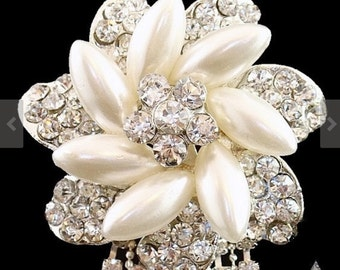 Brooch Pin - Rhinestone Brooch - Pearl Brooch - Rhinestone Pearl Brooch - Pearl Crystal Flower With Rhinestone Drop