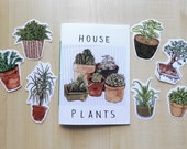 house plants art zine and stickers
