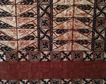 Two yards of amazing 1950's-60's tiki time fabric from THC Hawaiian textiles