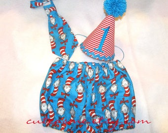 Cake Smash Outfit boy 1, 2, or 3 Piece Set Cat In The Hat Bloomers First Birthday Diaper Cover Tie Hat Necktie Pantie Pants Nappy Shorts
