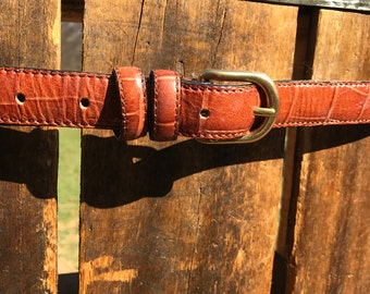 Men's Brown Leather Belt with Croc Print Size 38 Made in Italy