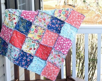 Baby Rag Quilt- Ready to ship quilt, yellow rag quilt, one of a kind rag quilt, Pink rag quilt, baby shower gift, blue rag quilt