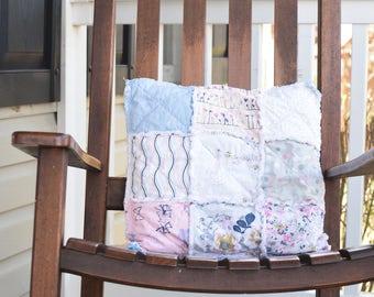 Rag Pillow- Throw Pillow, Couch Pillow, Pillow Cover, Rag Pillow Cover, Pink Pillow Cover, Blue pillow cover