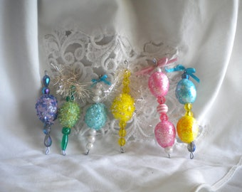 Easter egg ornaments icicles miniature with sequins, pearls, jewel beads. Feather tree; lot of 6