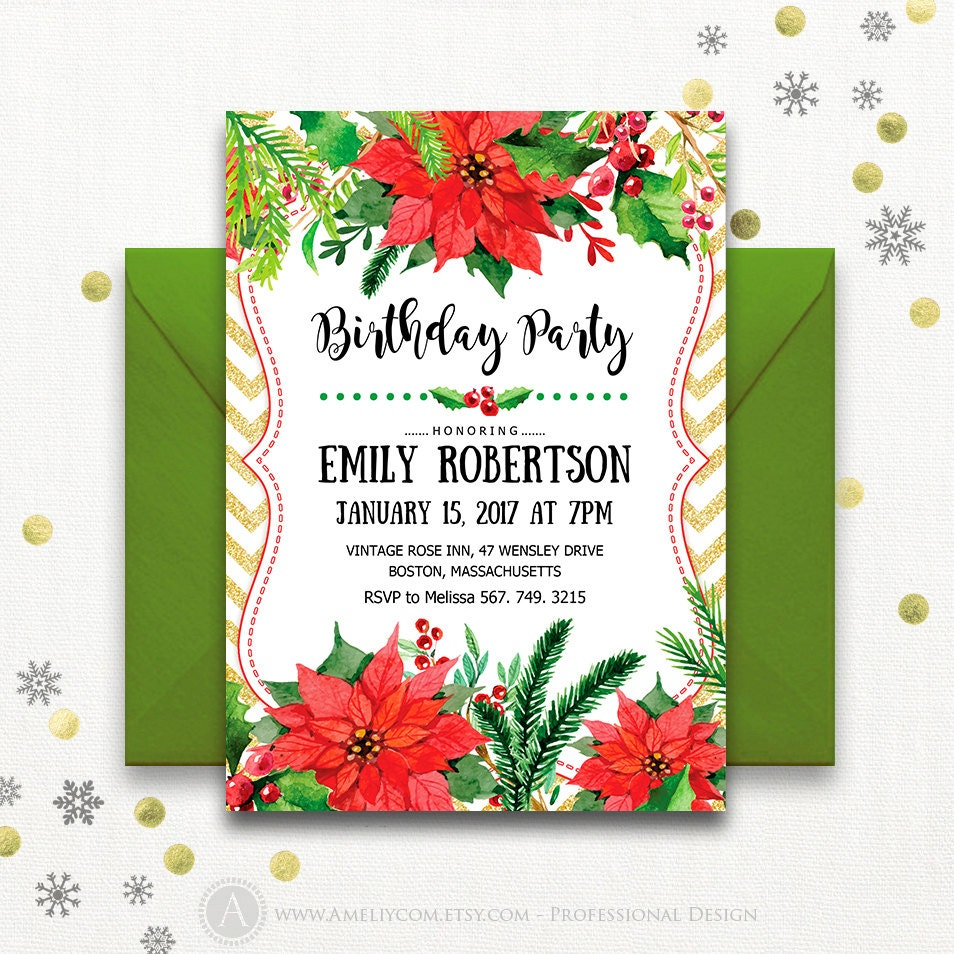 Christmas Birthday Party Invitation Adult Printable Winter