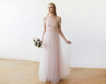 Lace off-shoulders short sleeves maxi blush tulle dress , Lace and tulle blush bridesmaids gown 1139