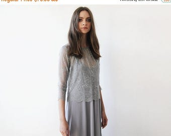 Spring Sale Grey lace , long sleeves top, Lace top, Sheer grey lace blouse 2024