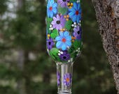 Bright and Cheery Hand Painted Blue and Lavender Flower Hummingbird Feeder with Flower Feeding Tube