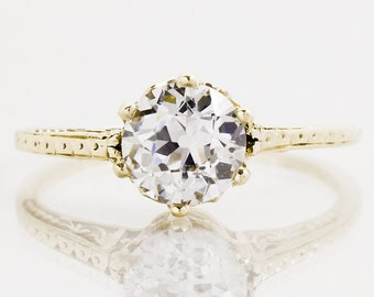 Antique Engagement Ring - Antique 14k Yellow Gold Diamond Solitaire Engagement Ring
