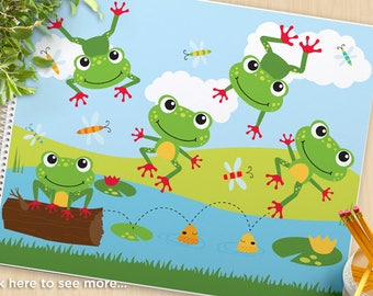Frog on a log vector clipart, red toed frogs, duck pond, wood log, leaping frogs, lily pads , five little speckled frogs, SVG Cut file