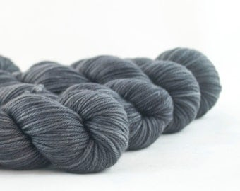 Hand Dyed Superwash Merino DK Yarn Dark Grey