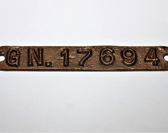 Vintage Great Northern Railroad Brass ID Number Property Tag, G. N. 17694