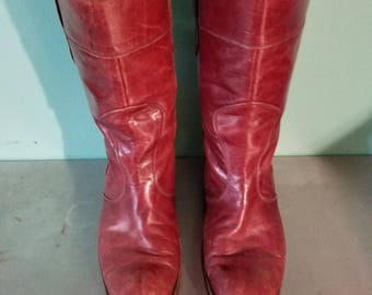 Vintage Brown Red Lesther Patina Distressed Made in Italy size 7.5 (US Women's size 8 or 9) boots Festival Alternative Grunge calf-length