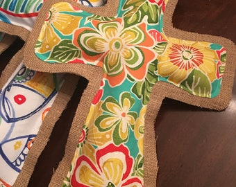 Burlap and Fabric Cross