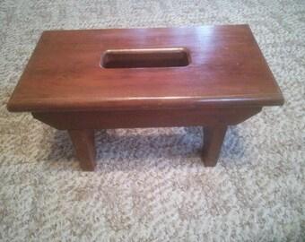 Vintage Wood Step Stool - Wood Step Stool - Step Stool with Handle