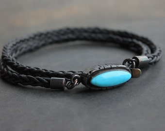 Turquoise Mens Bracelet - Turquoise, black braided leather, sterling silver mens jewelry, birthday gift, anniversary gift for the guys