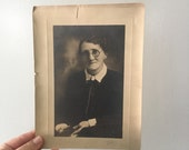 Antique Photo of Grumpy Grandma in Spectacles with Cameo Brooch from 1800s