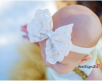 Girls Hair Accessories-Ivory-Cream-Lace-Bow-Headband-Baptism-Wedding-Photo-Birthday-Flowers for Hair-Bridesmaid-Flower Girl-Baby-Infant