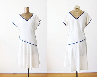 Vintage 1920s 1930s Dress / White Silk Dress / Flapper / Lawn / 20s Dress / 30s Dress / Small