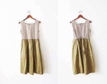 Striped Dress / Vintage Dress / Striped Sundress / Brown Dress / Khaki Dress / Summer Dress / Full Skirt / 90s Dress / Stripe Dress Large